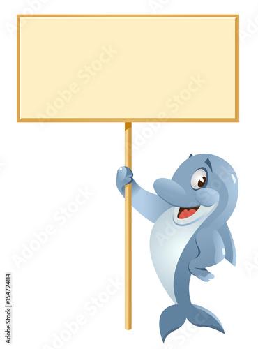 Fototapeta Dolphin holding blank banner