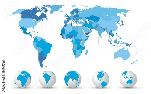 Canvas Wereldkaarten High Detailed World Map With Globes