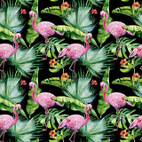 Seamless watercolor illustration of tropical leaves, dense jungle and pink flamingo birds. Pattern with tropic summertime motif may be used as background texture, wrapping paper, textile,wallpaper.