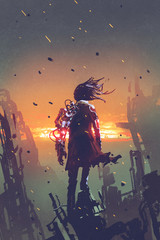 sci-fi concept of the man with robotic arm standing on ruined buildings looking at sunset sky with digital art style, illustration painting © grandfailure