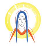 Blessed Virgin Mary sketch, with
