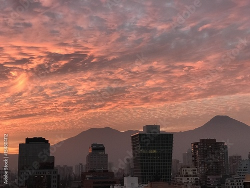 sunset clouds in Santiago,Chile