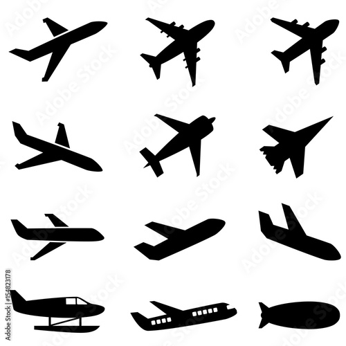 Fototapeta Passenger planes and other airplane icon