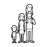caricature thick contour faceless big family parents with girl on his back and son taken hands vector illustration - 154825723