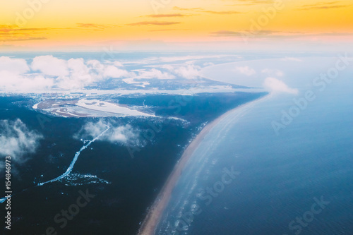 Western Dvina Flows Into Baltic Sea. River Divides Northern And