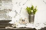 Pearl; porcelain; tea; set; lily of the valley; silver; glass;