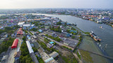 aerial view of tha chin river in mahachai samtuhsakorn outskirt of bangkok thailand capital