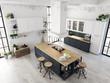 modern nordic kitchen in loft apartment. 3D rendering - 154924547