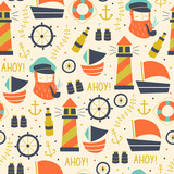 Seamless Pattern with Sailors, Wheel, Ship, and Different Elements.