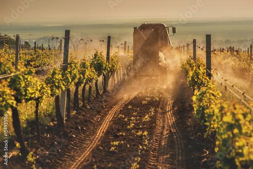 Papiers peints Vignoble Working machines on the grape field