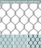 Chicken wire, well-worn. Three different versions of a seamless pattern with a wire mesh for chicken coops: unfilled, with white filling and in silhouette. The wire is deformed by use. - 154938335