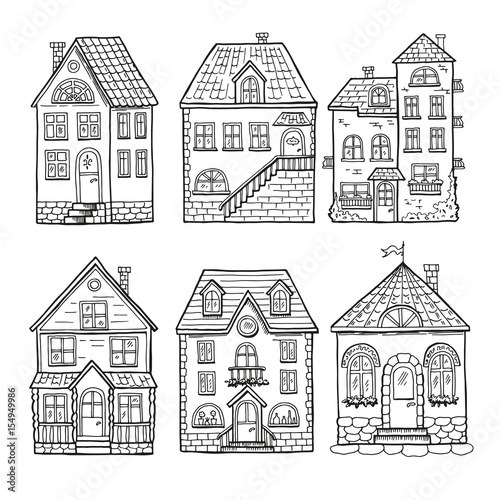 Cute little houses and different roofs. Doodle vector illustration of home - 154949986