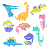 Cute funny dinosaurs. Collection of prehistoric animal characters vector Illustrations © topvectors