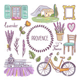 Provence hand drawn illustration. French village elements. Lavender, bicycle, furniture and landscapes