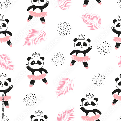 Cute panda ballerinas seamless pattern. Vector background for kids design.
