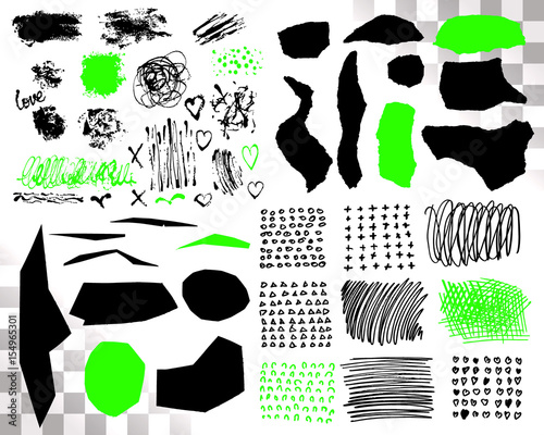 Vector Set of brush acrylic strokes. Black green color on white background. Hand painted grange elements. Ink drawing. Dirty artistic design . Place for text, quote, information, company name. © vittmann