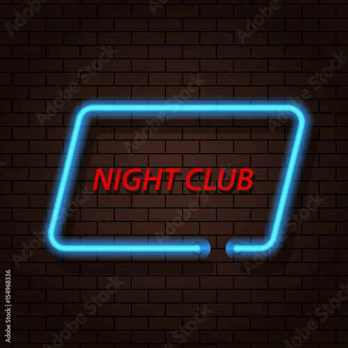 Neon signboard nightclub on a brick background. Vector illustration .