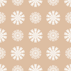 Flower elements for wallpapers. White and brown seamless pattern