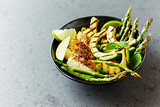 Grilled Chicken Salad with Grilled Asparagus and Avocado - 154980700