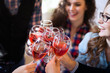 Wine tasting event by happy people concept
