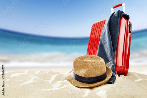 Poster suitcase and beach