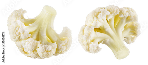 Сauliflower. Piece isolated on white background. Macro. Collection. With clipping path.