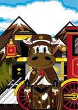 Cow Cowboy and Steam Train