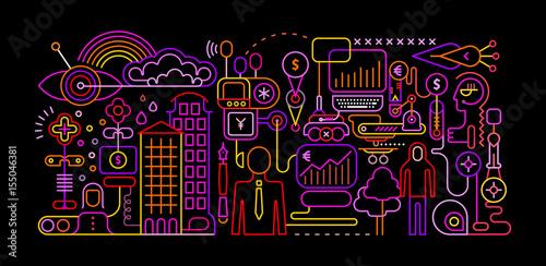 Fotobehang Abstractie Art Online Banking vector illustration