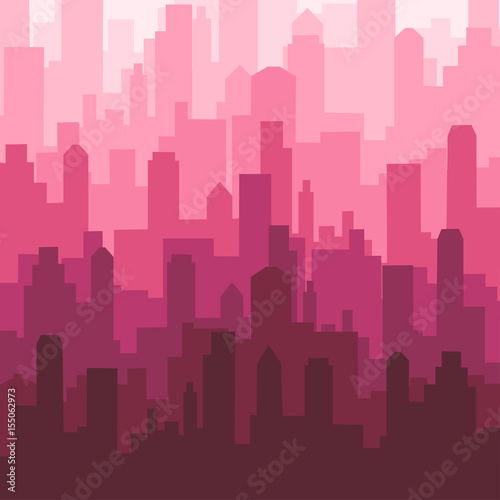 Abstract city skyline silhouette pattern - 155062973