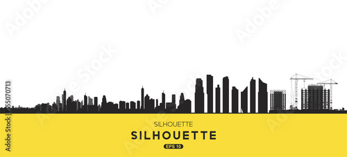 The silhouette city. Flat vector illustration EPS10.