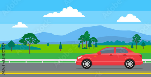 In de dag Pool red car on the road landscape background