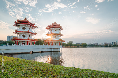 Obraz na plátne Beautiful sunset at Singapore Chinese Garden, a public park in Jurong East, Singapore