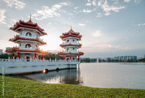 Plagát Beautiful sunset at Singapore Chinese Garden, a public park in Jurong East, Singapore
