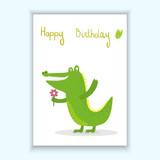 Cute hand drawn vector card with funny cute crocodile cartoon style. Printable template.