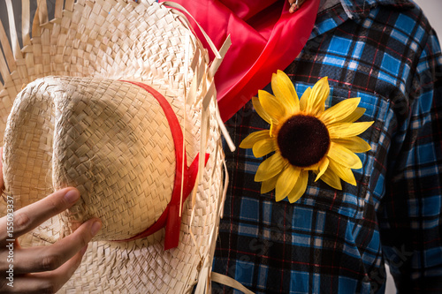 "Plakat Man wearing ""Caipira"" costume for the Brazilian Junina Party"