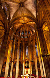 Stone Columns Catholic Basilica Barcelona Cathedral in Catalonia