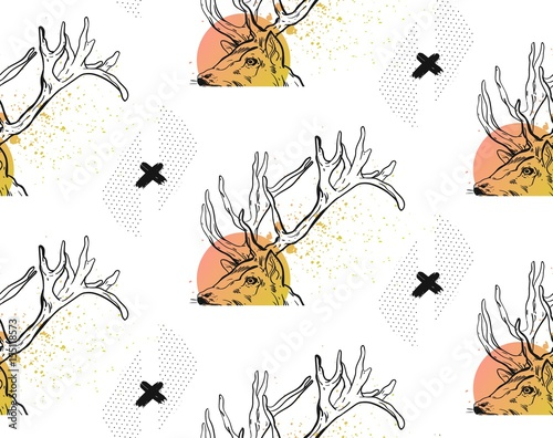 Aluminium Hipster Hert Hand drawn vector abstract modern textured seamless pattern with ink black crosses,polka dot textures and deer heads in pastel colors isolated on white background.Hipster trendy texture with crosses.