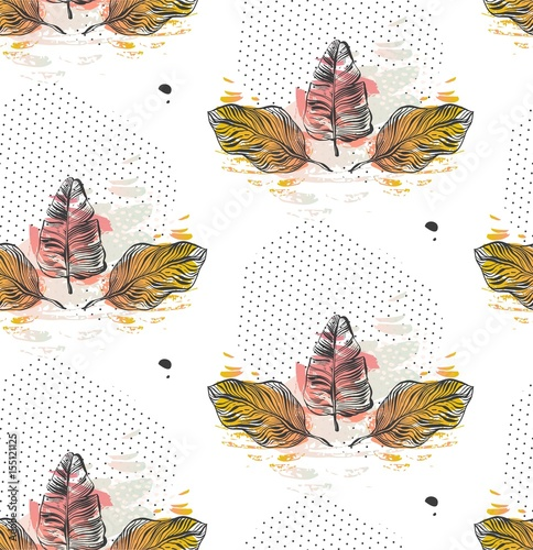 Print summer exotic jungle plant tropical palm leaves. Pattern, seamless floral vector on the black white geometric background. Nature wallpaper. - 155121125