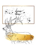 Hand drawn vector abstract textured geometric minimalism card template with graphic deers