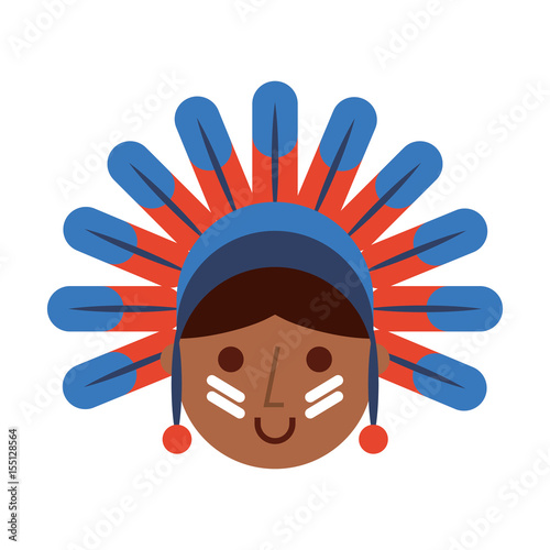 In de dag Indiërs native American character icon vector illustration design