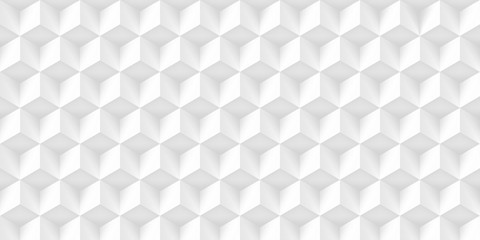 Volume realistic texture, gray cubes, 3d geometric pattern, design vector light background © panimoni