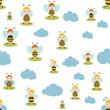 Bee cartoon seamless pattern. Baby, kid, child design. White background. Flat design, vector illustration. - 155130744