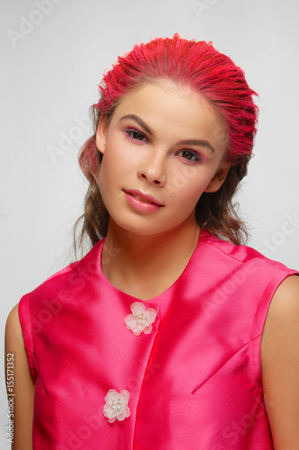 Beautiful fashion model with pink hair and clothes Poster