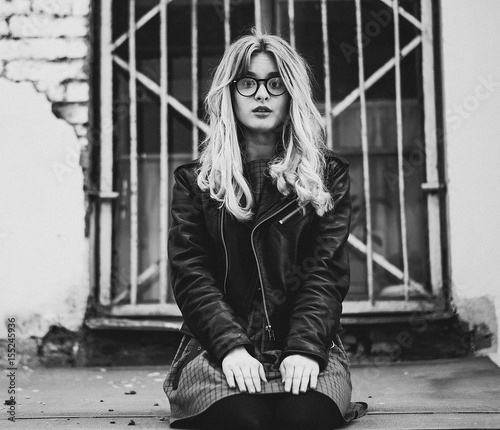 blonde gir  in the  summer city, black and white picture