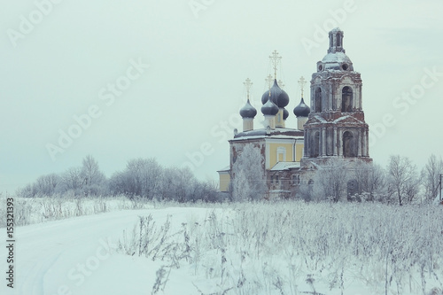 Aluminium Lichtblauw Old Orthodox Church in the winter landscape