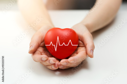 Foto Murales cardiology or health insurance concept - red heart in hands