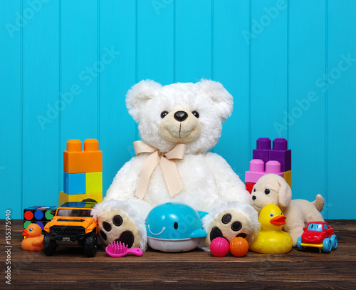 Toys on a wood