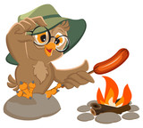 Picnic owl scout frying sausage on fire