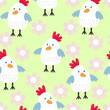 kids seamless pattern with chickens. Vector illustration - 155394712