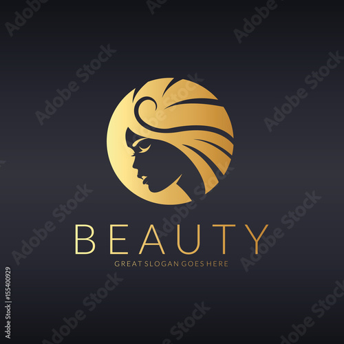 Beauty logo. Beautiful girl vector illustration  - 155400929